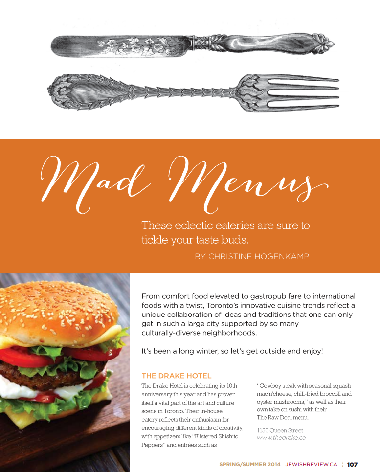 Mad Menus - Jewish Review article pg 1 - Spring 2014