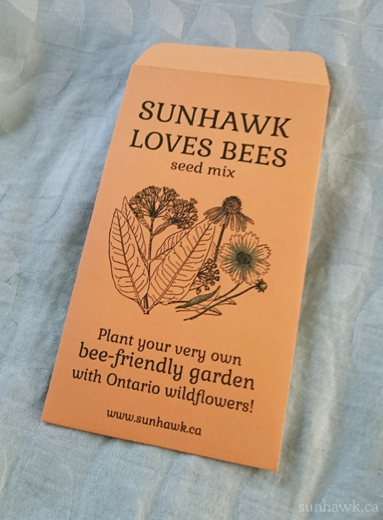 SUNHAWK LOVES BEES seed project - front