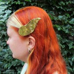 dragonhorn barrettes - gold & gold speckled
