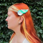 dragonhorn barrettes - green & rainbow