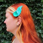 dragonhorn barrettes - green & teal