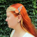 dragonhorn barrettes - orange & black