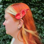 dragonhorn barrettes - red & red gold speckled