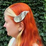 dragonhorn barrettes - silver & darksilver